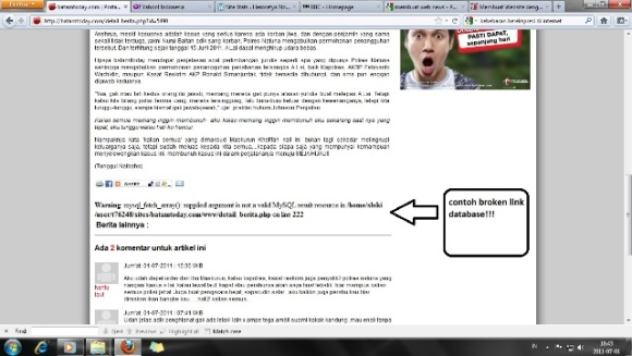 contoh broken link database